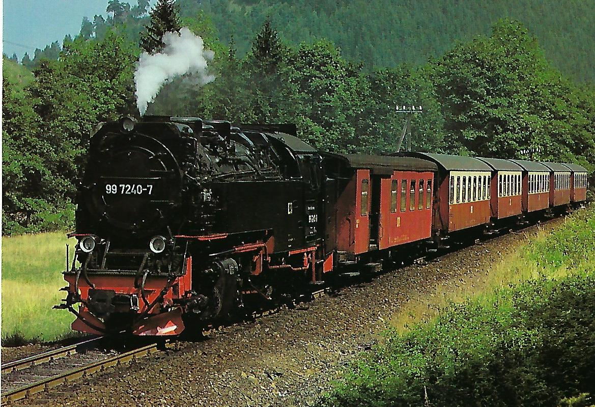 DR, Schmalspur-Dampflokomotive 99 7240-7, 1E1'h2t, bei Eisfelder Talmühle im August 1988. Eisenbahn Bestell-Nr. 10525