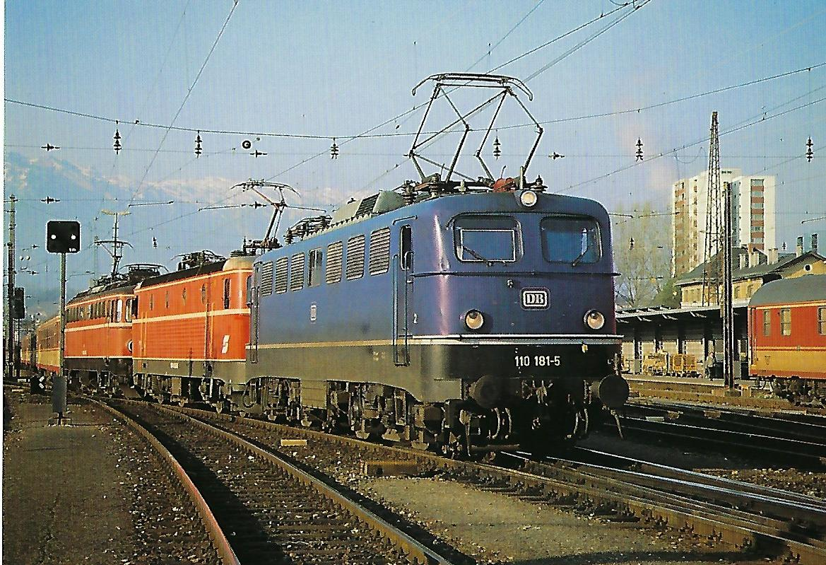DB, elektrische Schnellzuglokomotive 110 181-5, Bo'Bo, 1988 in Salzburg Hbf.Eisenbahn Bestell-Nr. 10527