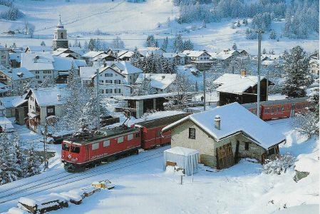 "Rhätische Bahn Lok Nr. 609 ""Linard"" Bo'Bo' nach Preda, Bergün am 2.1.2004. Eisenbahn Bestell-Nr. 50727"